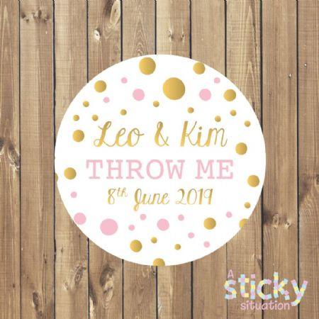 Personalised 'Throw Me' Stickers - Pink and Gold Design